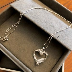 Silver Heart Pendant Necklace w/ Adjustable Chain